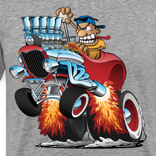 Highboy Hot Rod Race Car Cartoon - Men's Premium T-Shirt