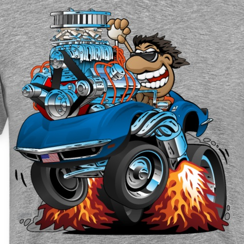 Classic '69 American Sports Car Cartoon - Men's Premium T-Shirt