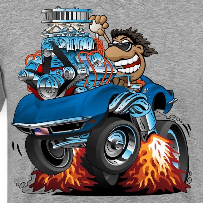 Classic '69 American Sports Car Cartoon