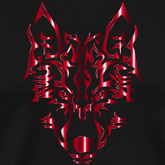 Crimson Symmetric Tribal Wolf No Background
