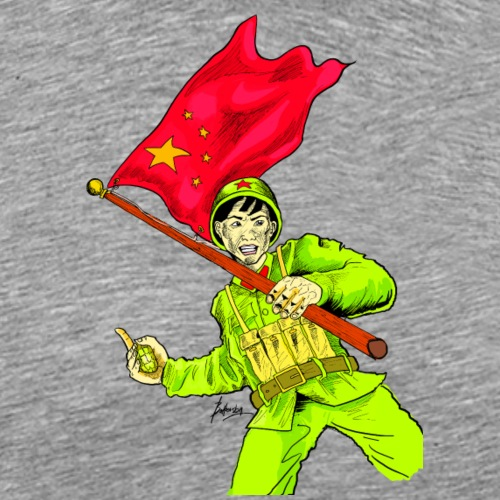 Chinese Soldier With Grenade - Men's Premium T-Shirt