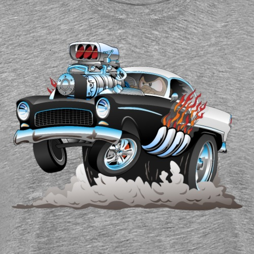 Classic '55 Hot Rod Funny Car Cartoon - Men's Premium T-Shirt