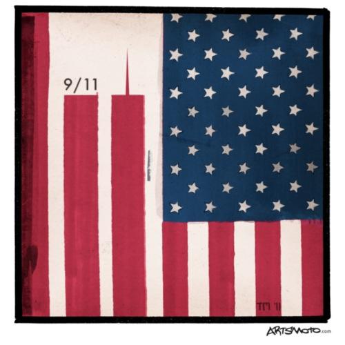 9 11 WTC Silhouette On Stars And Stripes - Men's Premium T-Shirt