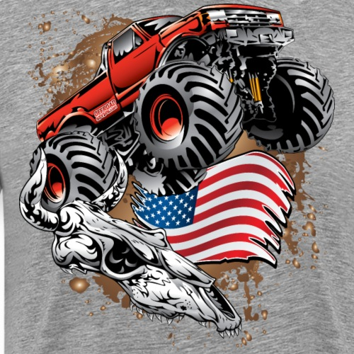 Monster Truck USA Skull - Men's Premium T-Shirt