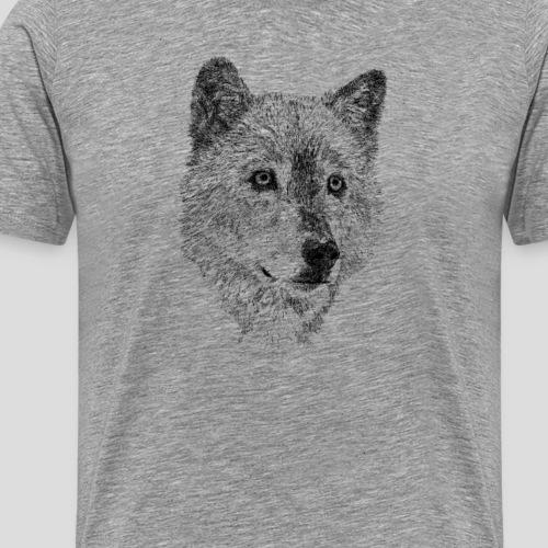 Wolf pencil drawing - Men's Premium T-Shirt