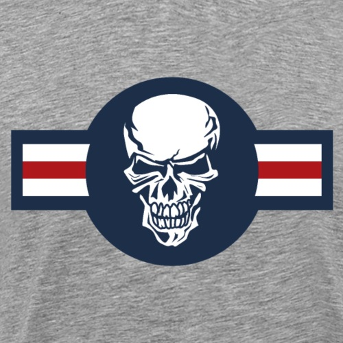 Military aircraft roundel emblem with skull - Men's Premium T-Shirt