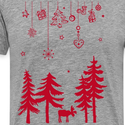 Elk, Moose in the forest with Christmas decoration - Men's Premium T-Shirt