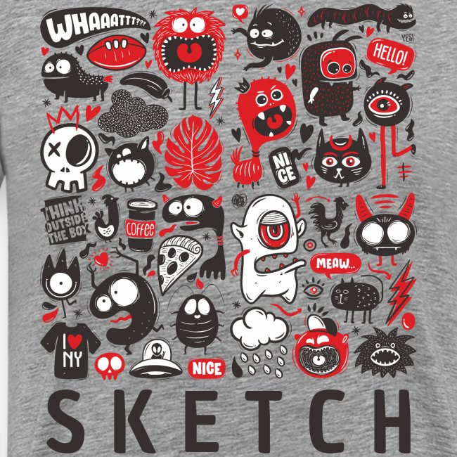 animals sketch design monsters