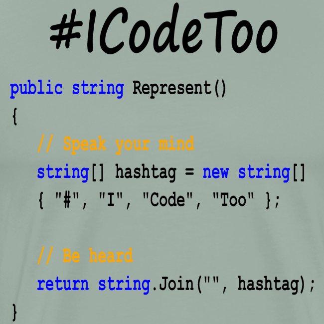 #ICodeToo coding diversity statement shirt