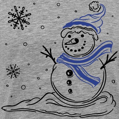 Snowman with snowflakes. Winter. Snow. - Men's Premium T-Shirt