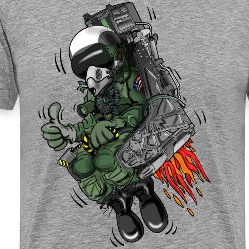 Military Fighter Jet Pilot Ejection Seat Cartoon - Men's Premium T-Shirt