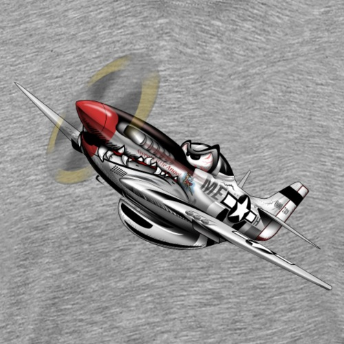 P-51 Mustang WWII Airplane Cartoon Illustration - Men's Premium T-Shirt