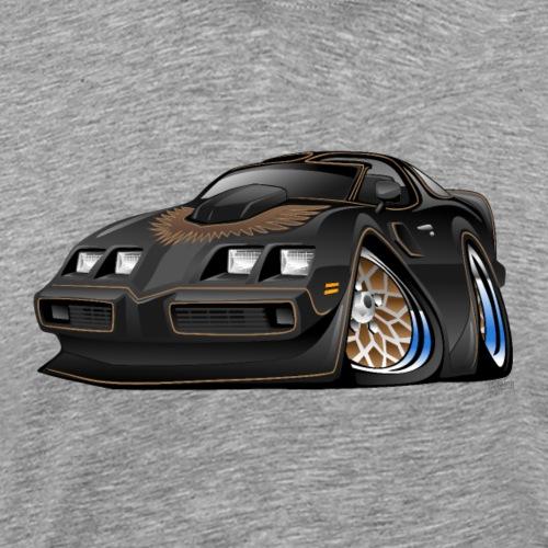 Classic American Black Muscle Car Cartoon - Men's Premium T-Shirt