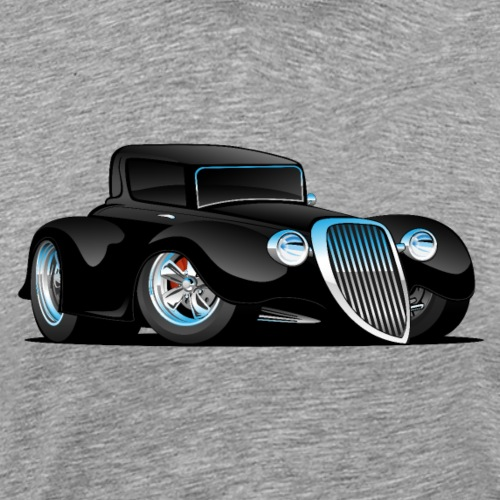 Black Hot Rod Classic Coupe Custom Car Cartoon - Men's Premium T-Shirt
