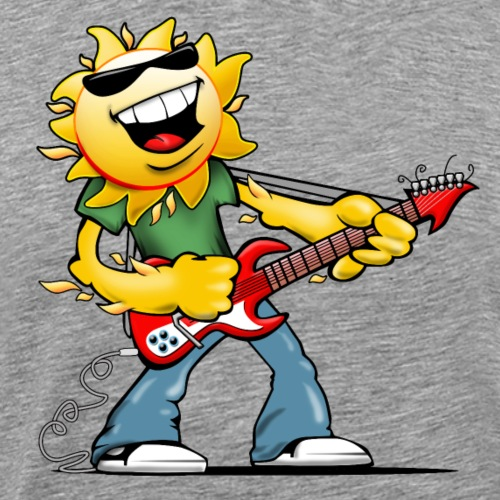 Guitar Jammin' Sun Cartoon - Men's Premium T-Shirt