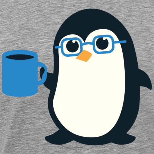Penguin Coffee Cute - Blue Glasses - Men's Premium T-Shirt