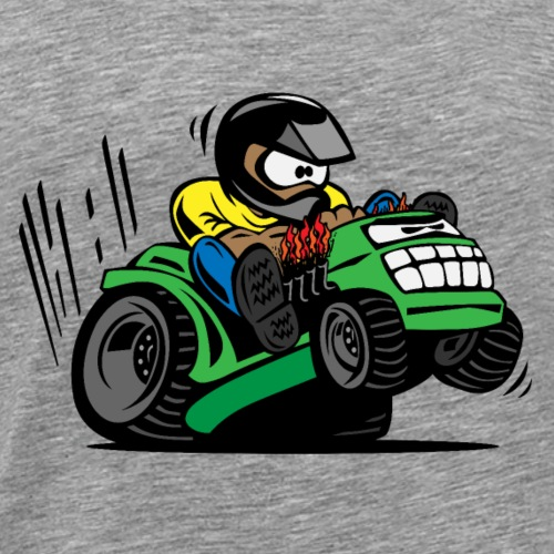 Racing Lawn Mower Cartoon - Men's Premium T-Shirt