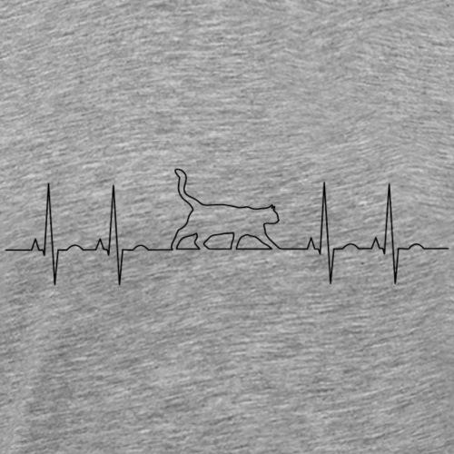 Heartbeat CAT paws EKG - Men's Premium T-Shirt