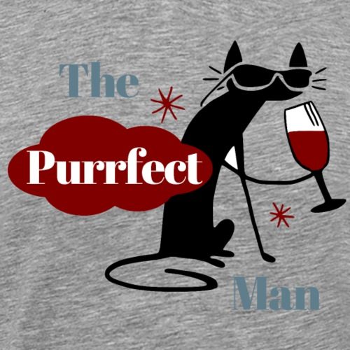 The Purrfect Man - Wine drinking cat - Men's Premium T-Shirt