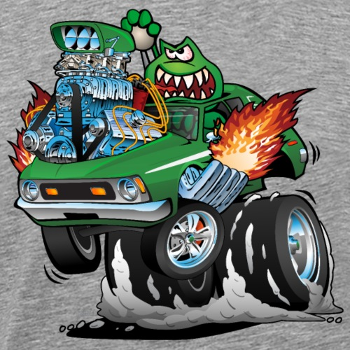 Seventies Green Hot Rod Funny Car Cartoon - Men's Premium T-Shirt
