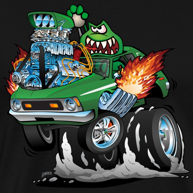 Seventies Green Hot Rod Funny Car Cartoon
