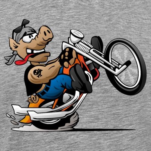 Biker Hog Motorcycle Cartoon - Men's Premium T-Shirt