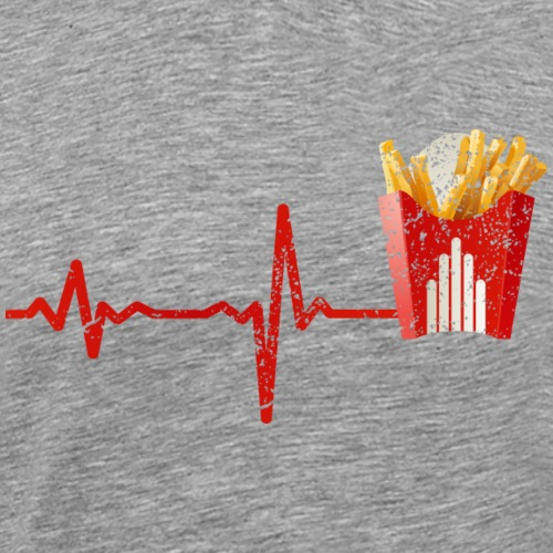 Heartbeat Fast food fries pommes - gift - Men's Premium T-Shirt