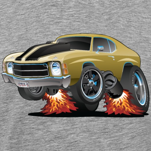 Classic American Seventies Muscle Car Cartoon - Men's Premium T-Shirt