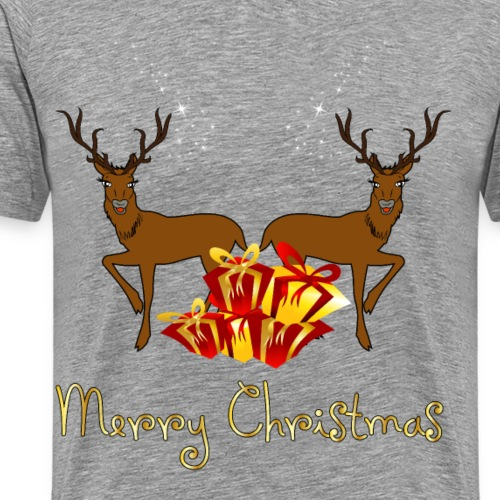 Merry christmas cute reindeer with gifts
