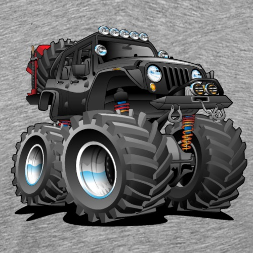 Off road 4x4 black jeeper cartoon - Men's Premium T-Shirt