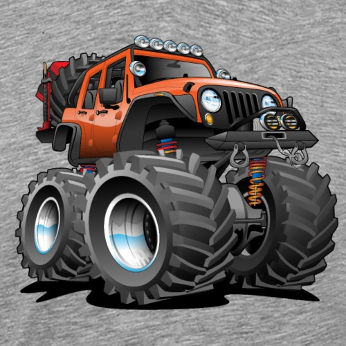 Off road 4x4 orange jeeper cartoon - Men's Premium T-Shirt