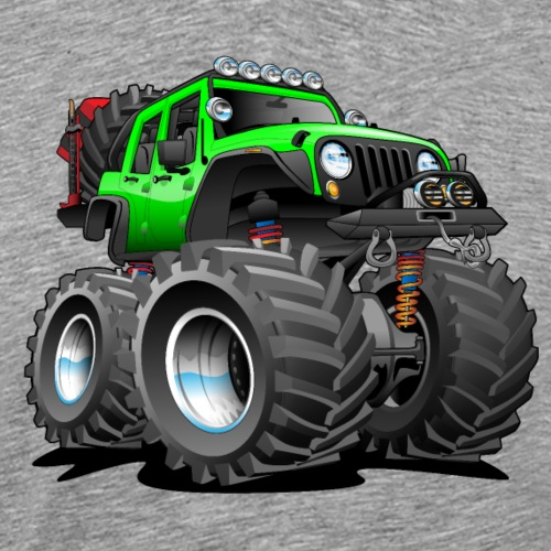 Off road 4x4 gecko green jeeper cartoon - Men's Premium T-Shirt
