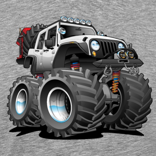 Off road 4x4 white jeeper cartoon - Men's Premium T-Shirt