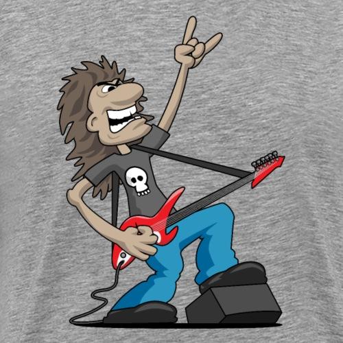 Heavy Metal Rock Guitarist Cartoon - Men's Premium T-Shirt
