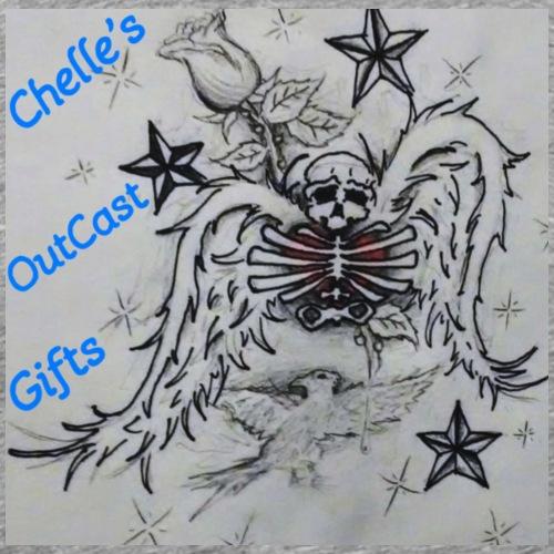 Chelle's Outcast Gifts Winged Skeleton Logo - Men's Premium T-Shirt
