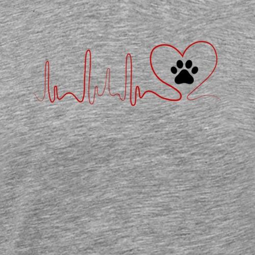 Heartbeat CAT paws EKG model 4 - Men's Premium T-Shirt