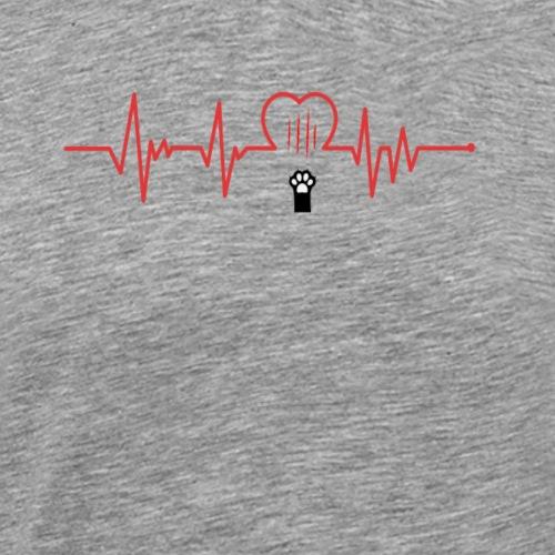 Heartbeat CAT paws EKG model 5 - Men's Premium T-Shirt