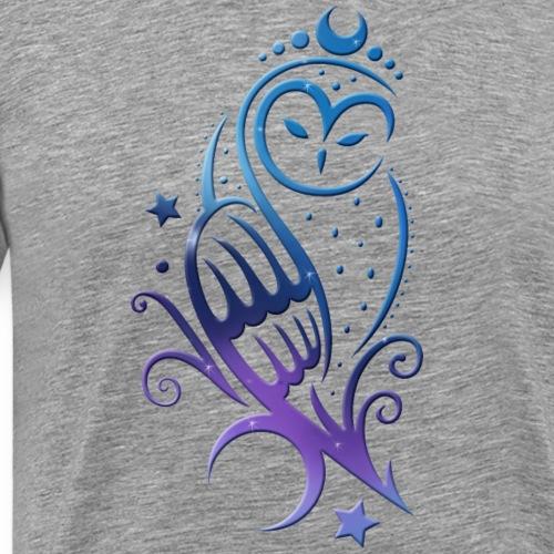 Galaxy Moon Owl with Stars. Night Sky. - Men's Premium T-Shirt