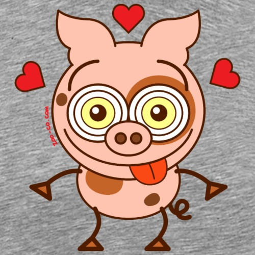 Cute pig feeling madly in love - Men's Premium T-Shirt