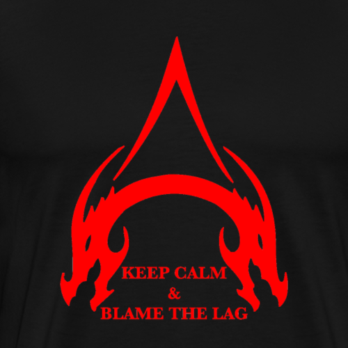 Keep Calm And Blame The Lag In Adored Ruby - Men's Premium T-Shirt
