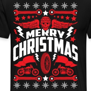Ugly Christmas Sweater Motorcycle Biker Skull - Men's Premium T-Shirt