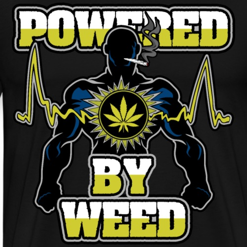 Powered By Weed Pot Smoker - Men's Premium T-Shirt