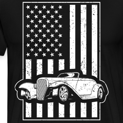 Vintage Car Hot Rod American Flag - Men's Premium T-Shirt