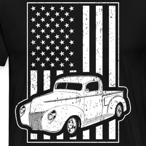 Vintage Pickup American Flag - Men's Premium T-Shirt