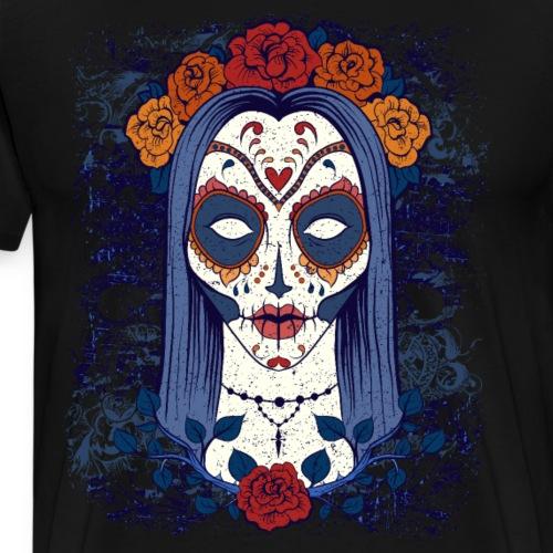 Sugar Skull Woman Halloween Day Of The Dead - Men's Premium T-Shirt