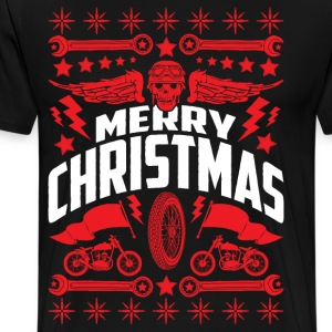 Merry Christmas Motorcycle Ugly Christmas Sweater - Men's Premium T-Shirt