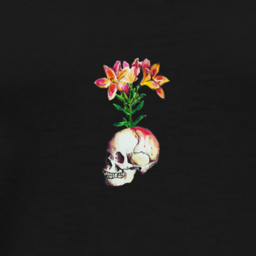Flower sprouting from skull - Men's Premium T-Shirt