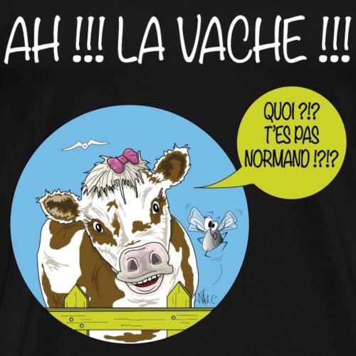 Vache tshirt Normandie White writing - Men's Premium T-Shirt