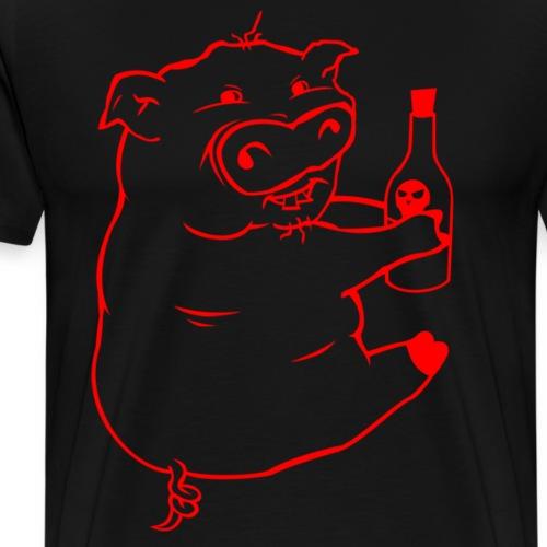 Poison Pig - Red Outline - Men's Premium T-Shirt