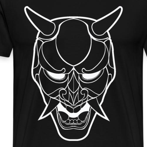 Japanese Demon Mask Line Art - Men's Premium T-Shirt